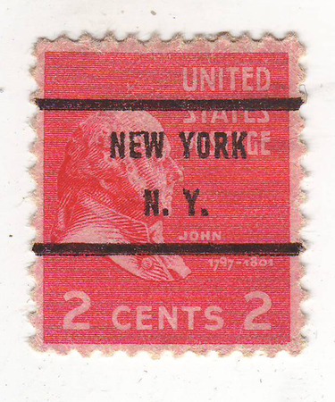 philately: image of the bust of an elderly man in profile on the red brand, the price is 2 cents, New York Stock Photo