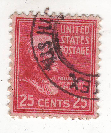 25 cents: image of the bust of an elderly man on a red stamp, price of 25 cents