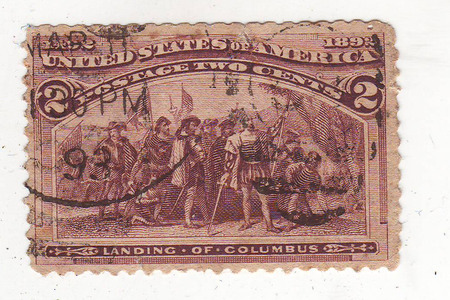 philately: the picture landing of Columbus brown violet brand, the price is 2 cents, with cancellation 93