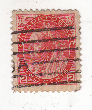 philately: the image portrait of an elderly woman with a crown on his head on the red brand, price 2 cents