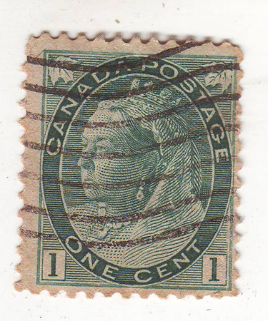 philately: the image portrait of an elderly woman wearing a crown on a gray green brand, the price is 1 cent