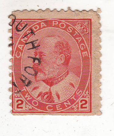 image of portrait of an elderly man with a beard in the mantle in the profile on the red brand, price 2 cents