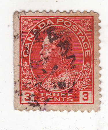philately: image of portrait of an elderly man with a beard in a military uniform in profile on red stamp, price 3 cents