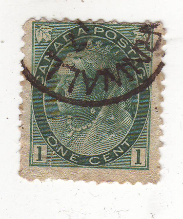 philately: the image portrait of an elderly woman wearing a crown on the dark green stamp, price 1 cent