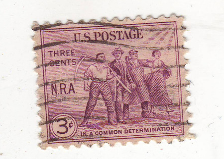 agricultural implements: image of a group of men and women with tools and agricultural implements, purple stamp, price 3