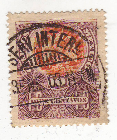 philately: the image of a bird of prey sitting on an orange background, violet brand, price 10 cents