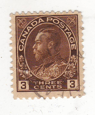 philately: image of portrait of a man in military uniform in profile, on brown stamp, price 3 cents Stock Photo