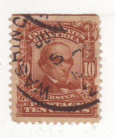philately: image of portrait of a man, brown brand, price 10 cents, Webster