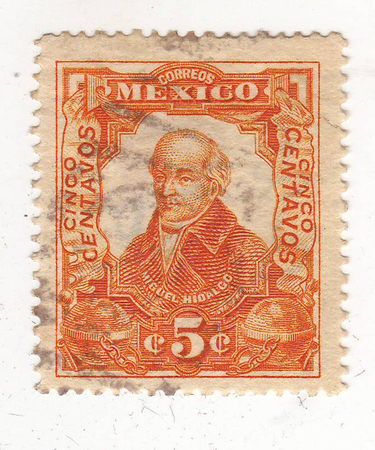philately: image of portrait of a man in civilian clothing, red brand, price 5
