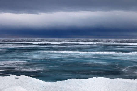 the rain in April on lake Baikal