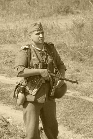 german soldier: reconstruction of the breakthrough of the Mius front of the farm Baranovka, a German soldier with a gun