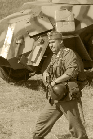 memoirs: reconstruction of the breakthrough of the Mius front of the farm Baranovka, a German soldier with a gun