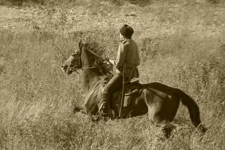 kuban: reconstruction of the breakthrough of the Mius front of the farm Baranovka, scout Kuban Cossacks galloping on horseback