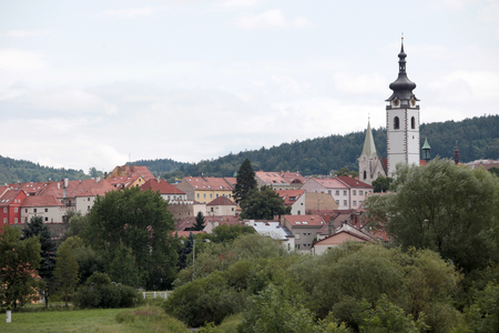 habsburg: the building with the tower at the entrance to the Habsburg castle in hlubok nad Vltavou