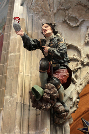 vitus: the interior of St. Vitus Cathedral, sculpture beggar