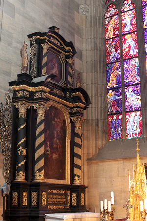 stained glass windows: the interior of St. Vitus Cathedral, stained glass Windows, the altar.