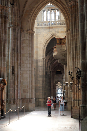 gothic architecture: the interior of St. Vitus Cathedral in Prague, Gothic architecture.
