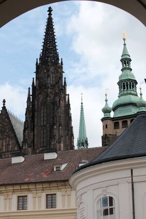 steeples: towers, steeples and domes in the old town of Prague