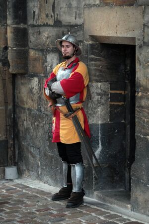 infantryman: Prague, a medieval infantryman in the old town