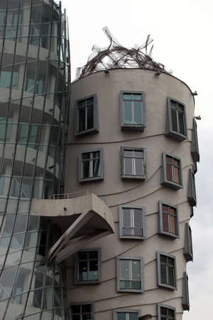 dancing house: Prague, fragment of the facade of the dancing house Stock Photo