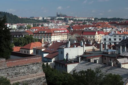 visegrad: Prague, view from the ramparts of the castle at Visegrad city blocks