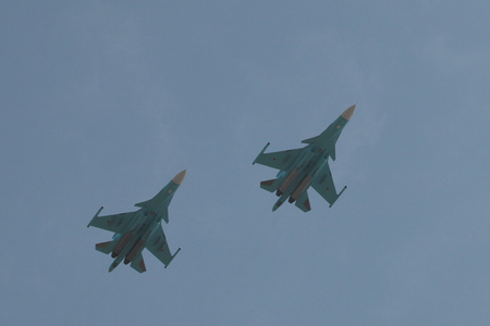 air demonstration: the demonstration in the air of aviation technology during celebrations in Rostov-on-don