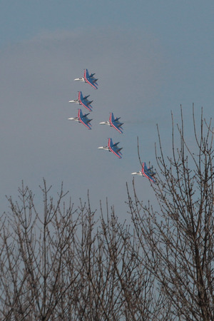 flight of aerobatic team of 6 aircraft