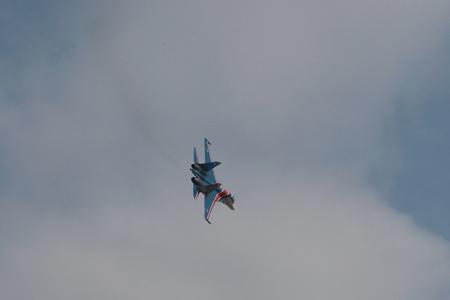 aerobatics: demonstration aerobatics fighter during celebrations in Rostov-on-don.
