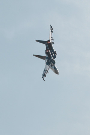 demonstration aerobatics fighter during celebrations in Rostov-on-don.