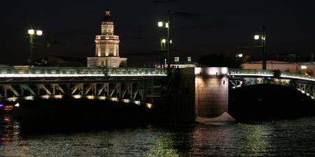 and st petersburg: St. Petersburg, night lighting of the bridge on Vasilievsky island Stock Photo