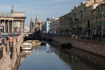 st  petersburg: St. Petersburg, canals and bridges Stock Photo
