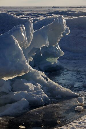 hummock: melted the ice of lake Baikal on the boundary of the Barguzin reservation