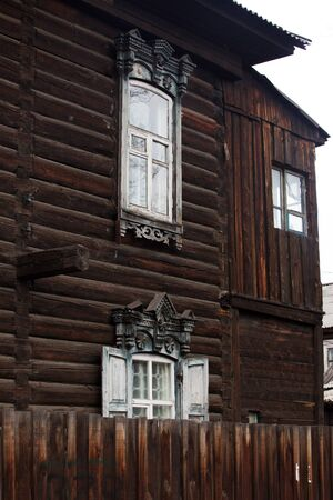 ulan ude: Ulan-Ude city centre, the market district, the old buildings of wooden houses in the traditional style Stock Photo