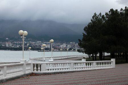 cloudiness: embankment of Gelendzhik resort in the winter