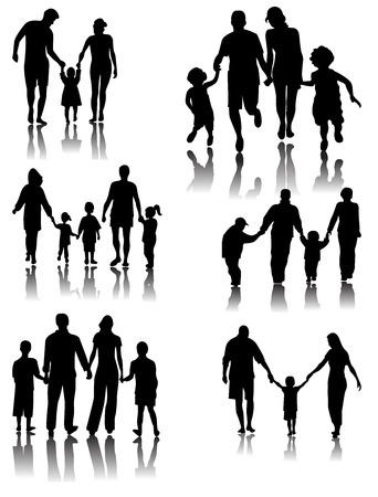 Glückliche Familien-Silhouetten mit Schatten. Vektorillustration