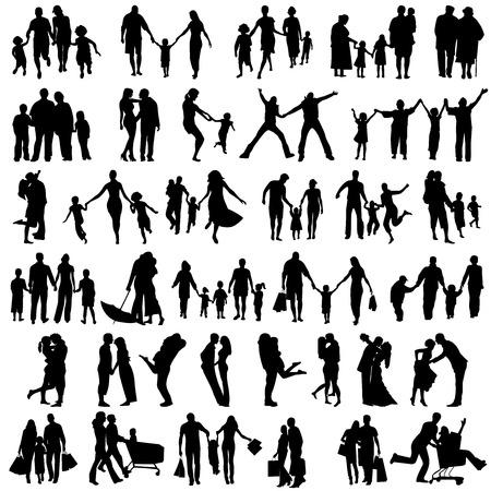 Glückliche Familie Silhouetten. Mädchen Silhouettes.Vector Illustration Standard-Bild - 24156469