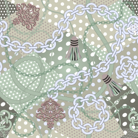 Seamless pattern background.Chain  on polka dots background. Vector illustration