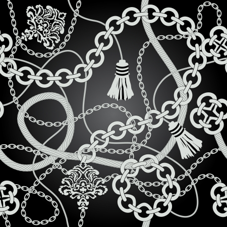 Silver chain seamless. Vector background illustration.
