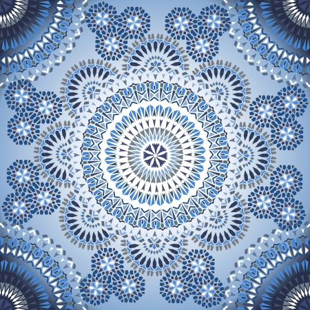 Decorative colorful seamless pattern in mosaic ethnic style. Vector background illustration Vector
