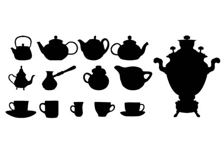 gateau: Silhouette of drinks. Cafe icons. Vector illustration