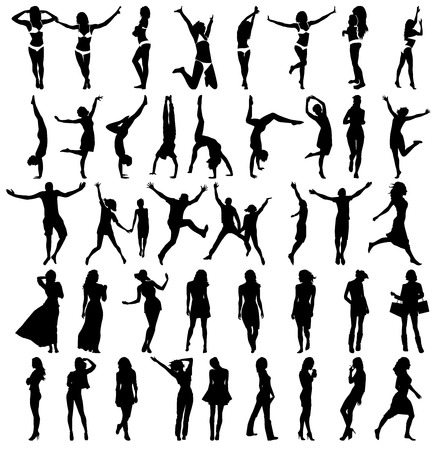 child care: Silhouettes of girls . Happy jamping people. Vector illustration