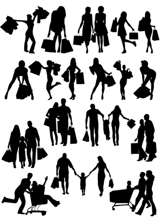 Shopping family and girls silhouettes . Vector set Çizim