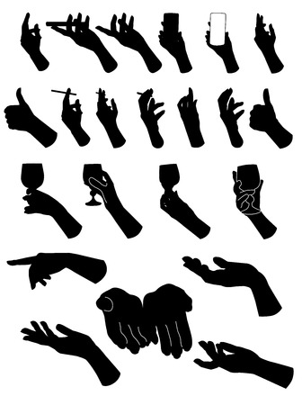 hold hand: Set di mani silouette. Mano che tiene diversi oggetti. Illustrazione vettoriale