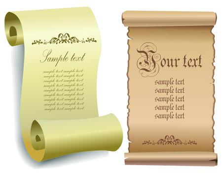 torah scroll: Illustration of old paper scrolls . Vector eps 10 illustration.