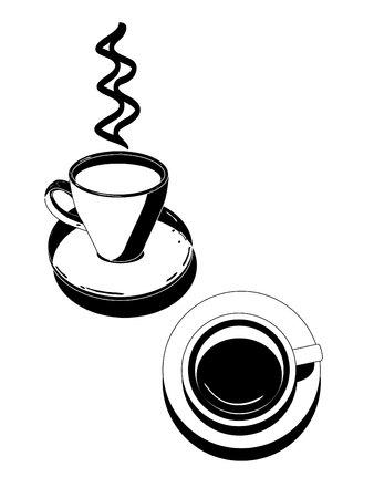 gateau: Silhouette di bevande icone Cafe illustrazione vettoriale