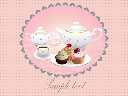 Cup cakes and pot of tea Vector illustration Vector