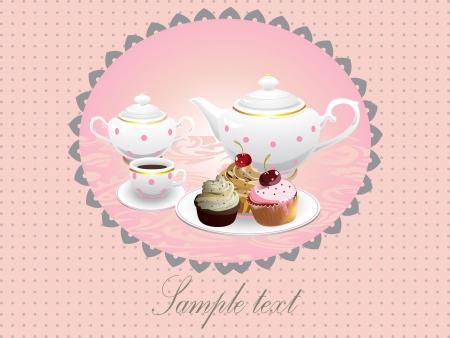 cup cakes: Tortas de la taza y taza de t� de ilustraci�n vectorial Vectores