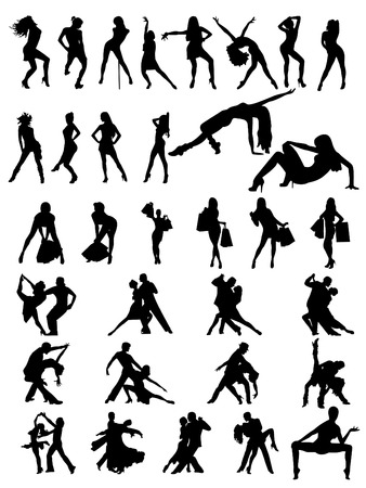 Set of silhouettes of dancing couple and girls. Vector illustration Illustration