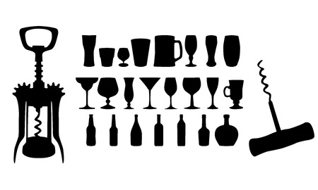 corkscrew: Silhouette of drinks. Cafe icons. Vector illustration