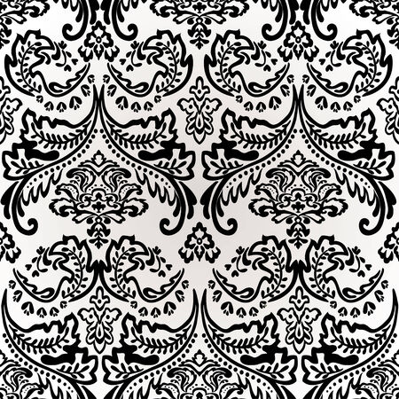 Damask vintage floral seamless pattern background, vector illustration. Vector